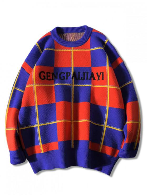 womens Colorblock Checkered Letter Graphic Crew Neck Sweater - RED L