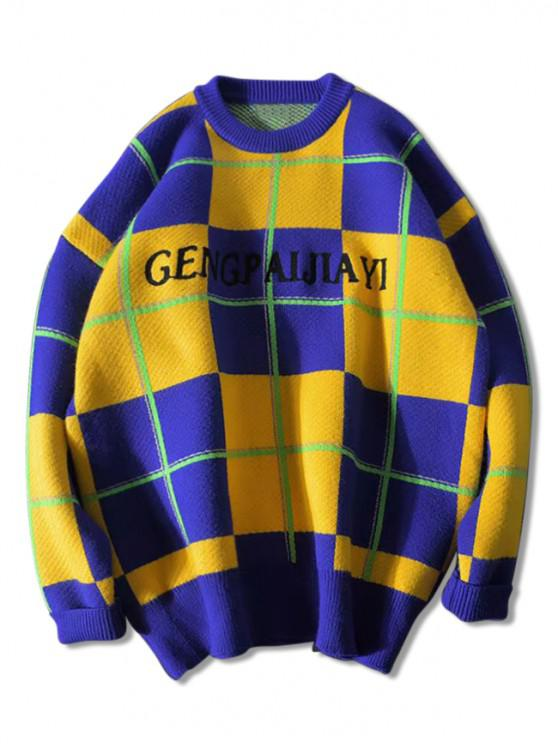 online Colorblock Checkered Letter Graphic Crew Neck Sweater - YELLOW 2XL