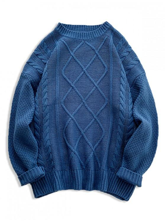 outfits Solid Cable Knit Drop Shoulder Pullover Sweater - SILK BLUE 2XL