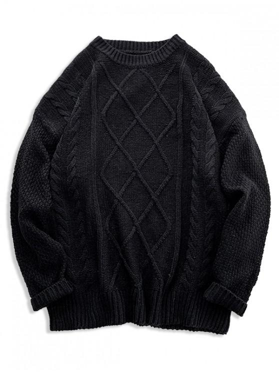 fancy Solid Cable Knit Drop Shoulder Pullover Sweater - BLACK XL