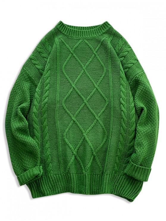 womens Solid Cable Knit Drop Shoulder Pullover Sweater - GREEN 2XL
