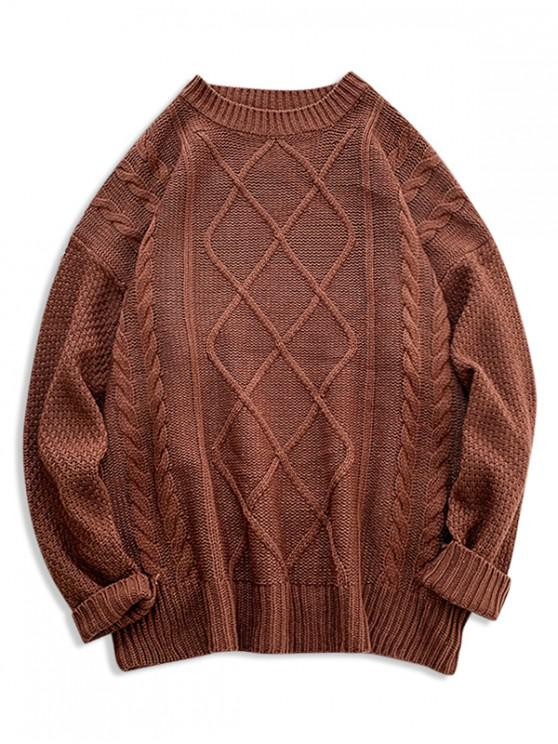 lady Solid Cable Knit Drop Shoulder Pullover Sweater - CHOCOLATE 2XL