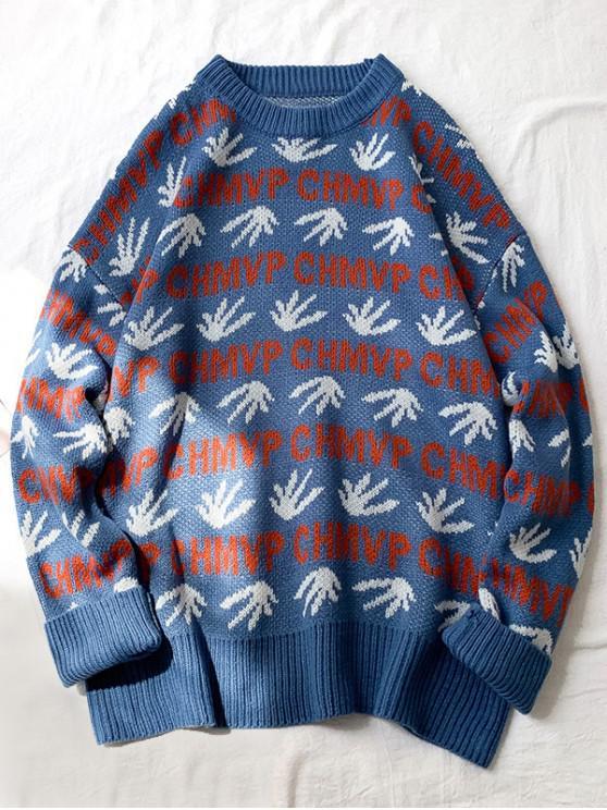 chic Leaf Letter Print Drop Shoulder Knitted Sweater - SKY BLUE M