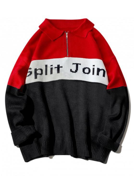 ladies Split Joint Graphic Half Zip Drop Shoulder Sweater - RED XL