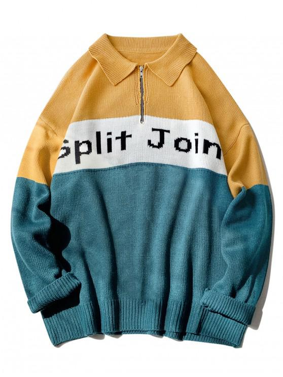 best Split Joint Graphic Half Zip Drop Shoulder Sweater - YELLOW S