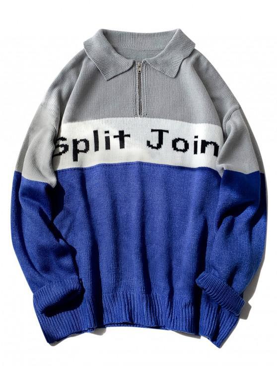 Split Joint Grafik Halber Reißverschluss Hängender Sweatshirt - Grau M