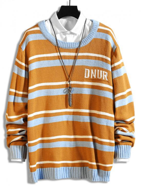 outfits Letter Graphic Striped Casual Sweater - MULTI-C 4XL