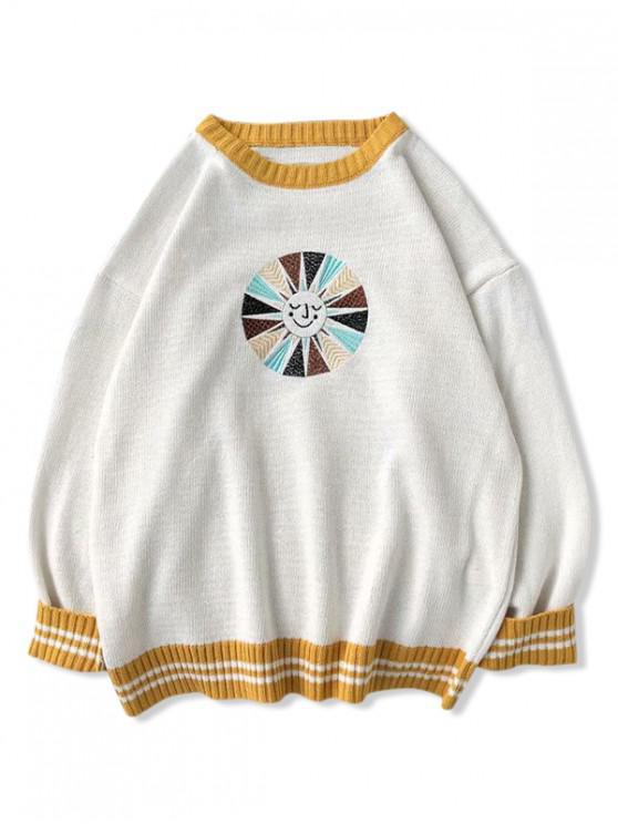 sale Embroidery Graphic Colorblock Striped Sweater - WHITE XL