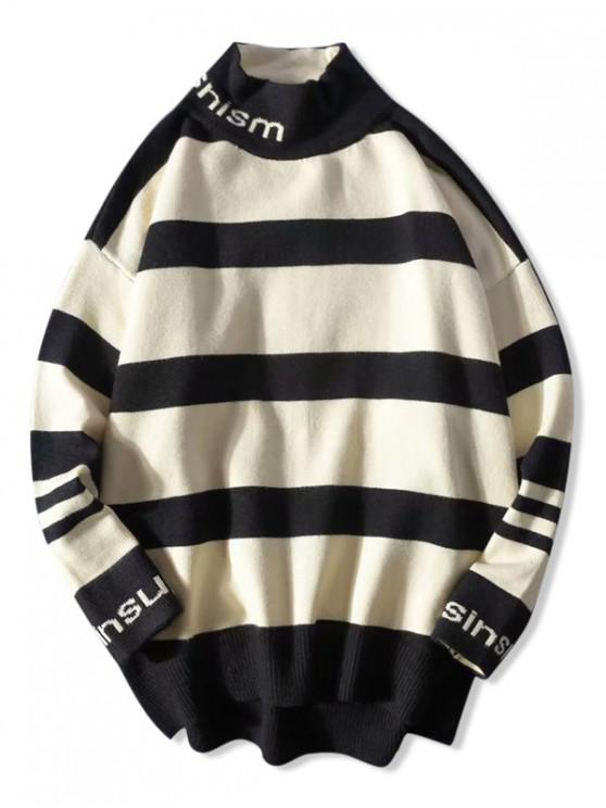 women's Letter Graphic Colorblock Panel Striped Sweater - APRICOT 2XL