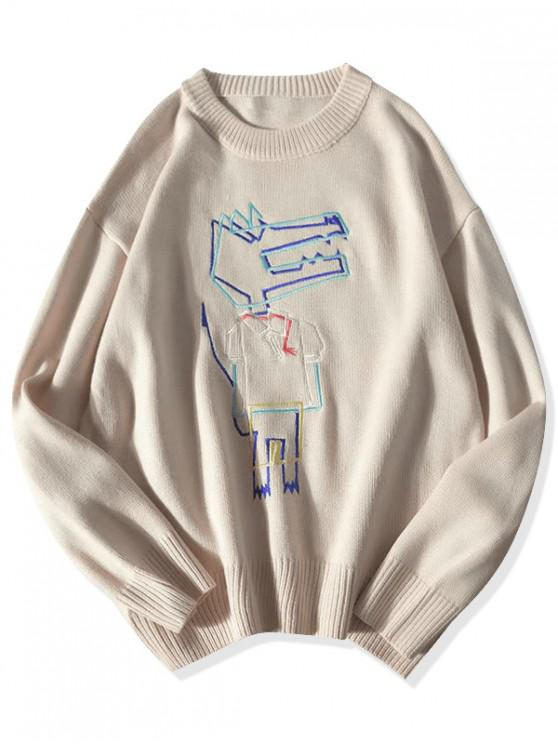 shop Cartoon Animal Embroidery Drop Shoulder Sweater - APRICOT XL