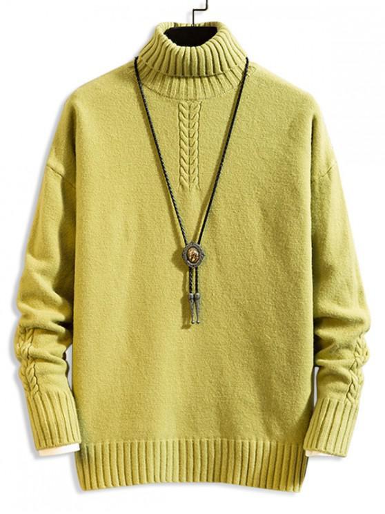 affordable Plain Turtleneck Drop Shoulder Cable Knit Sweater - LIGHT GREEN 3XL