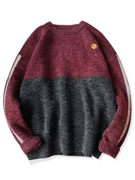 fancy Cat Embroidery Crew Neck Heather Knit Sweater - RED WINE 2XL