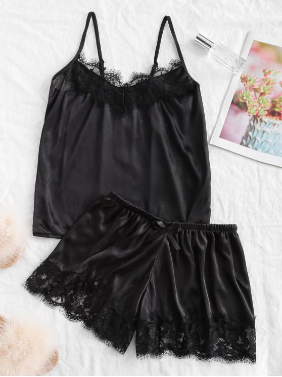affordable Lace Panel Bowknot Satin Pajama Set - BLACK M