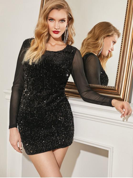 ZAFUL Сетчатая вставка С блестками Облегающее Вечернее Платье - Чёрный L
