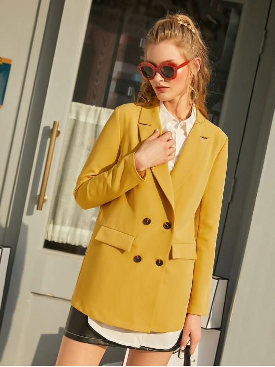 women ZAFUL Flap Pockets Solid Double Breasted Blazer - BRIGHT YELLOW XL