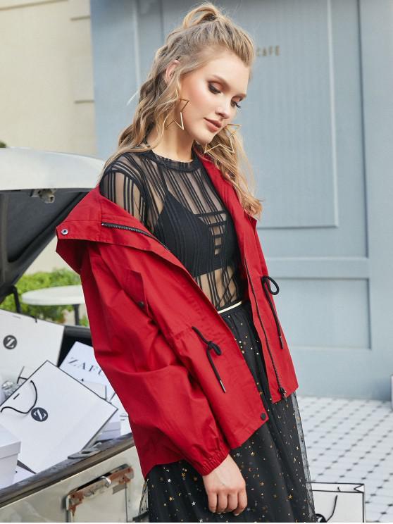 womens ZAFUL Waist Drawstring Hooded Jacket - RED XL