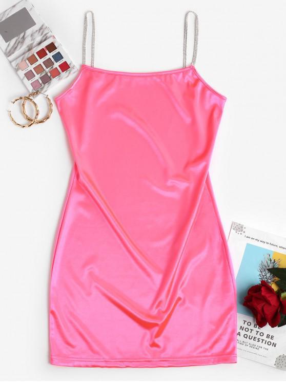Неоновое Атласное Облегающее Платье Ками - Ярко-розовый L