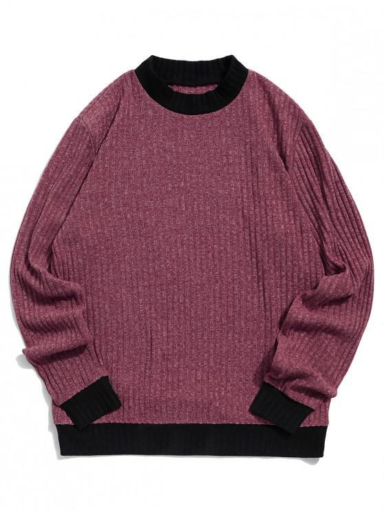 best ZAFUL Color Blocking Spliced Casual Pullover Sweater - FIREBRICK 2XL