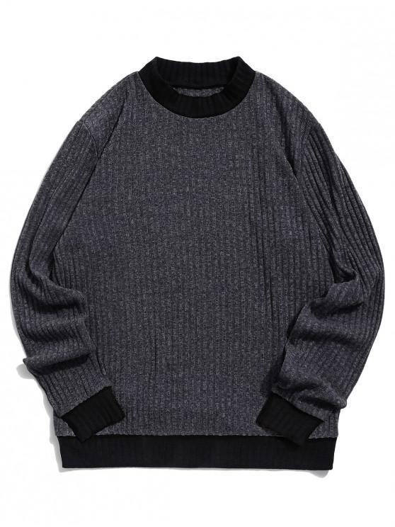 unique ZAFUL Color Blocking Spliced Casual Pullover Sweater - GRAY S