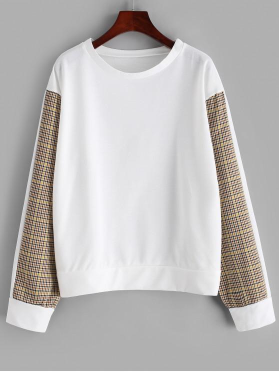 Sweat-shirt Lâche Panneau en Vichy - Blanc L