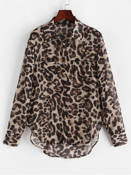 outfits Leopard Print Buttoned High Low Shirt - LEOPARD S