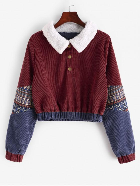 women's Snap Button Graphic Corduroy Sweatshirt - RED WINE XL