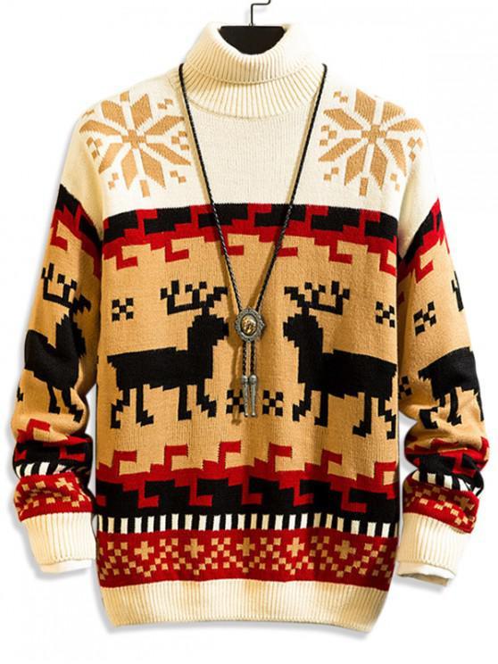 Weihnachten Geometrischer Hirschdruck Rollkragen Pullover - Multi-B M