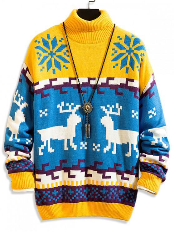 women Christmas Geometric Deer Print Turtleneck Pullover Sweater - MULTI-A M