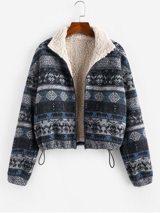 shops ZAFUL Tribal Print Plaid Faux Fur Lined Jacket - MULTI-B M