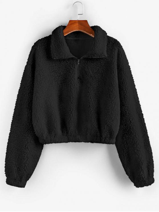 women ZAFUL X Luna Montana Drop Shoulder Teddy Half Zip Sweatshirt - BLACK L