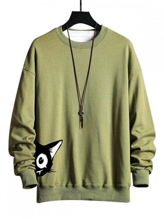lady Cartoon Cat Print Casual Sweatshirt - FERN GREEN M