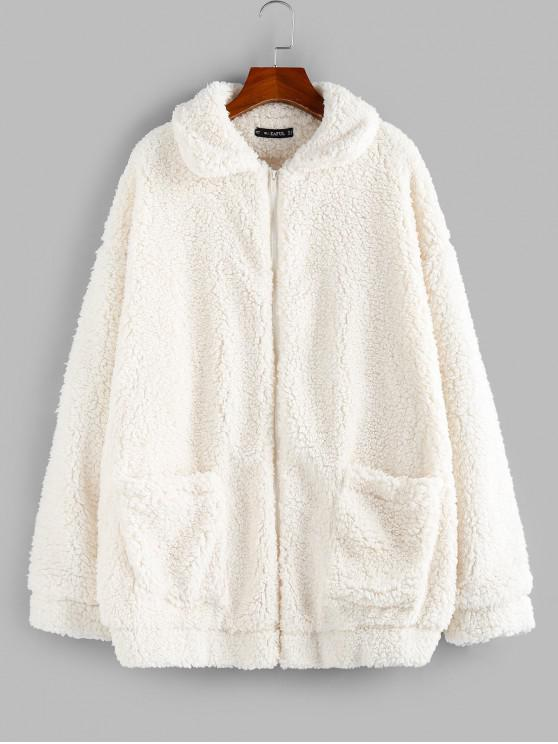 buy ZAFUL x Yasmine Bateman Pocket Zipper Drop Shoulder Fluffy Teddy Coat - WARM WHITE S