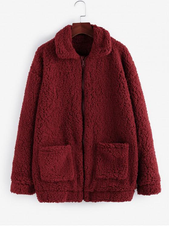 sale ZAFUL x Yasmine Bateman Pocket Zipper Drop Shoulder Fluffy Teddy Coat - FIREBRICK XL