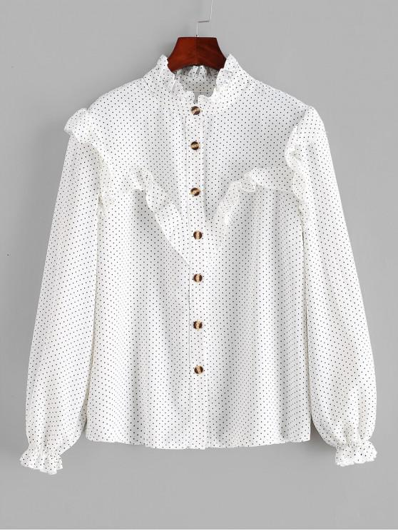 chic Polka Dot Ruffles Buttoned Blouse - WHITE M