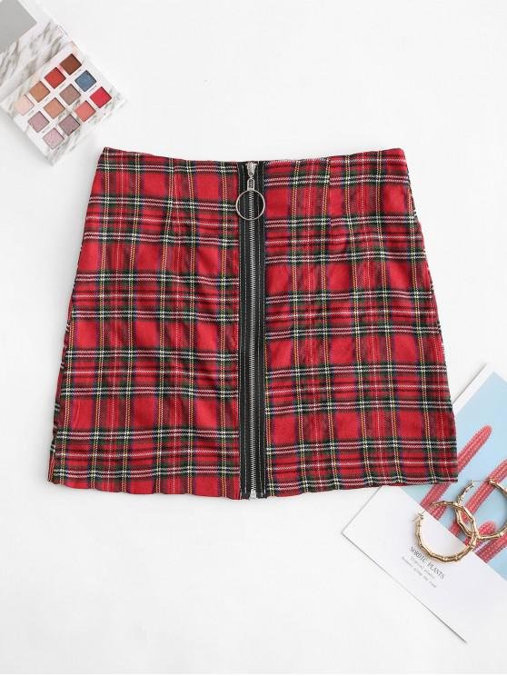 Zip anteriore Plaid A Gonna - Rosso M