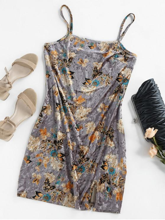 new ZAFUL Velvet Floral Slit Cami Mini Dress - DARK GRAY XL
