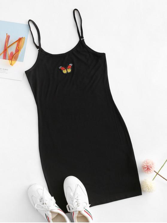蝴蝶修補的Bodycon卡米連衣裙 - 黑色 L