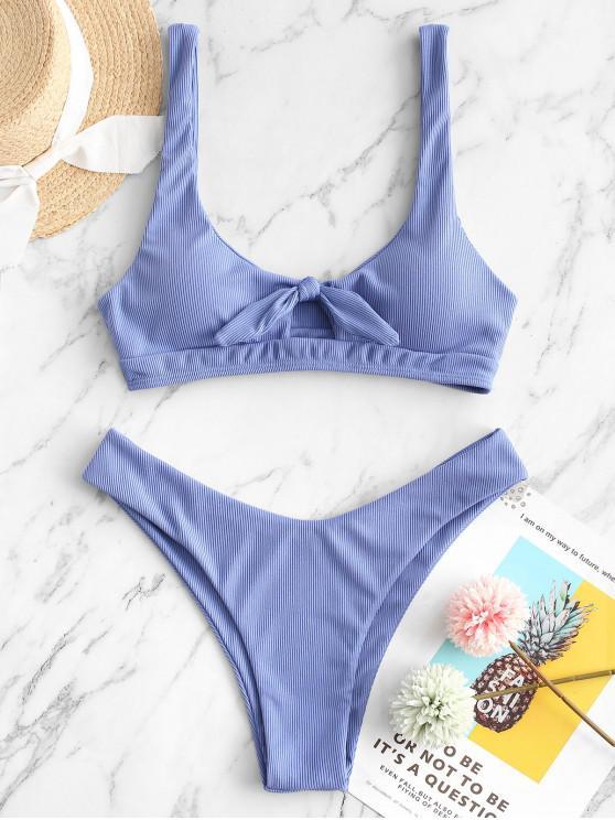 ZAFUL Verknoteter Bikini Badeanzug mit Rippen und U Ausschnitt - Pastellblau S