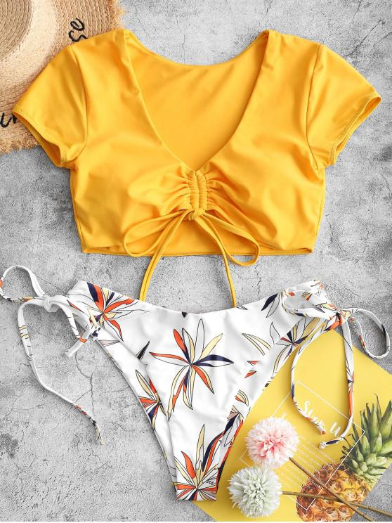 trendy ZAFUL Leaf Print Cinched Two Piece Swimsuit - MUSTARD XL