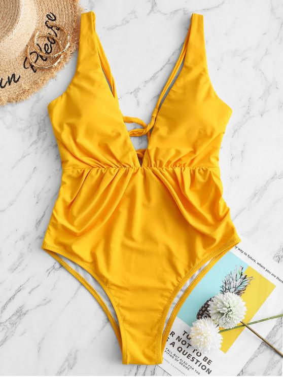 ZAFUL Lace-up Ruched Uma peça Swimsuit - Mostarda M