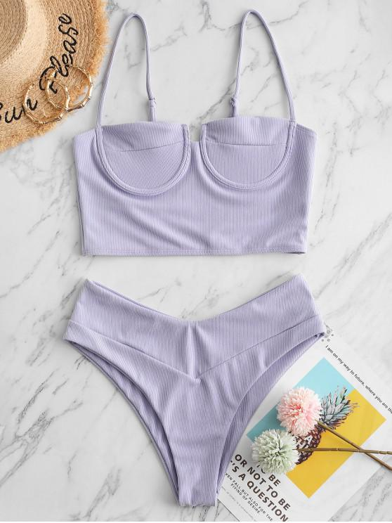 new ZAFUL Ribbed Underwire Balconette Tankini Swimsuit - LAVENDER BLUE 2XL