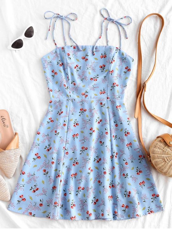 latest Tiny Floral Tie Strap Flare Dress - POWDER BLUE S