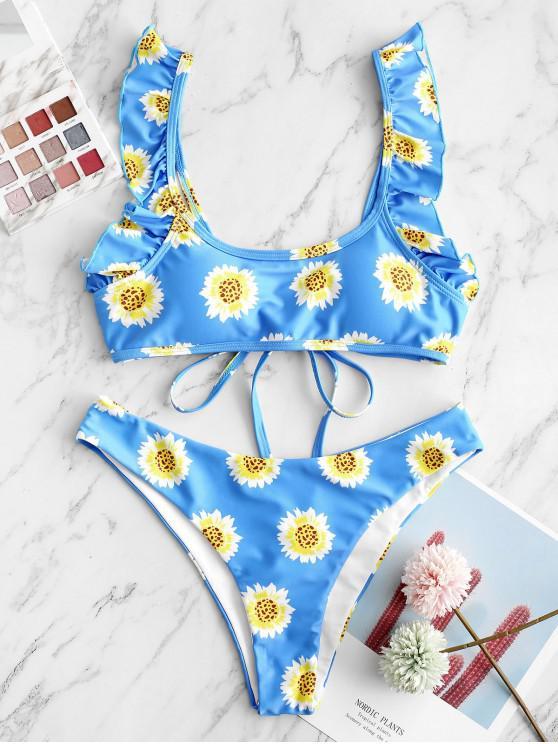 trendy ZAFUL Sunflower Tie Ruffle Bikini Swimsuit - DODGER BLUE L