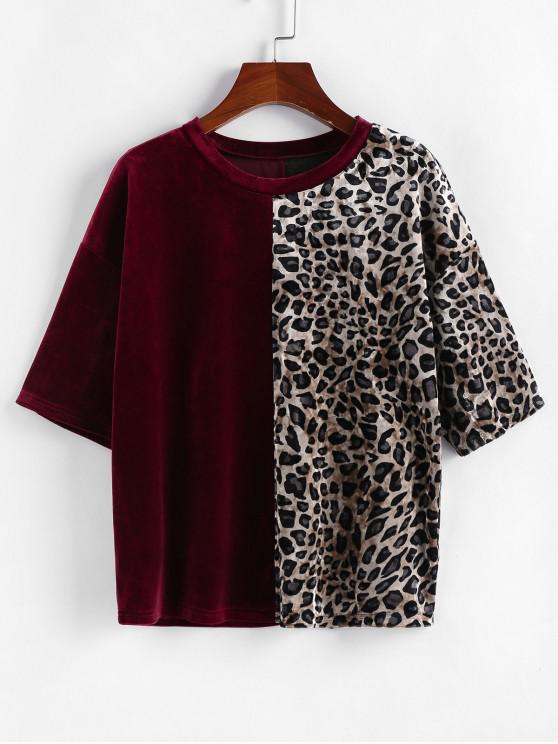 lady ZAFUL Velvet Leopard Print T Shirt - RED WINE XL