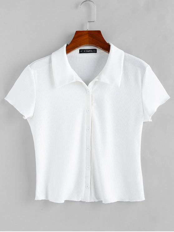 affordable ZAFUL Basic Ribbed Shirt - WHITE XL