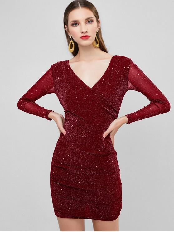 hot Glitter Plunging Ruched Bodycon Party Dress - RED WINE XL