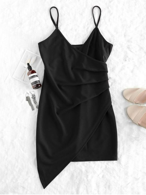 fancy ZAFUL Ruched Cami Party Dress - BLACK S