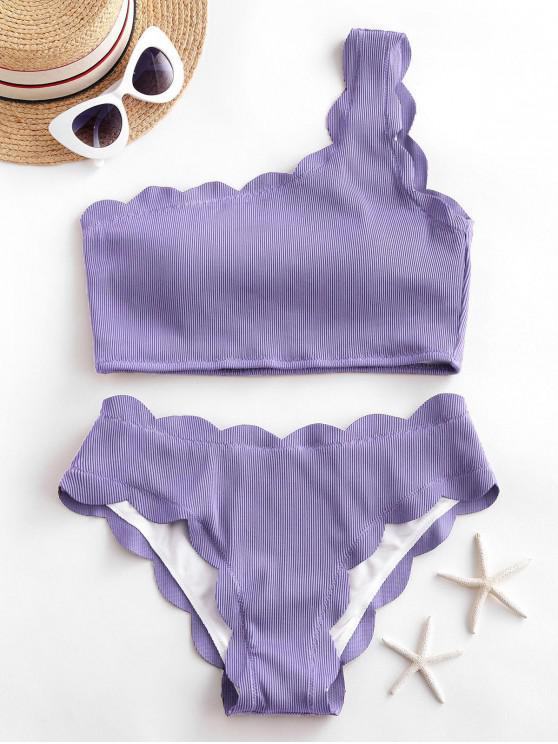 ladies ZAFUL Ribbed Scalloped One Shoulder Tankini Swimsuit - LAVENDER BLUE M