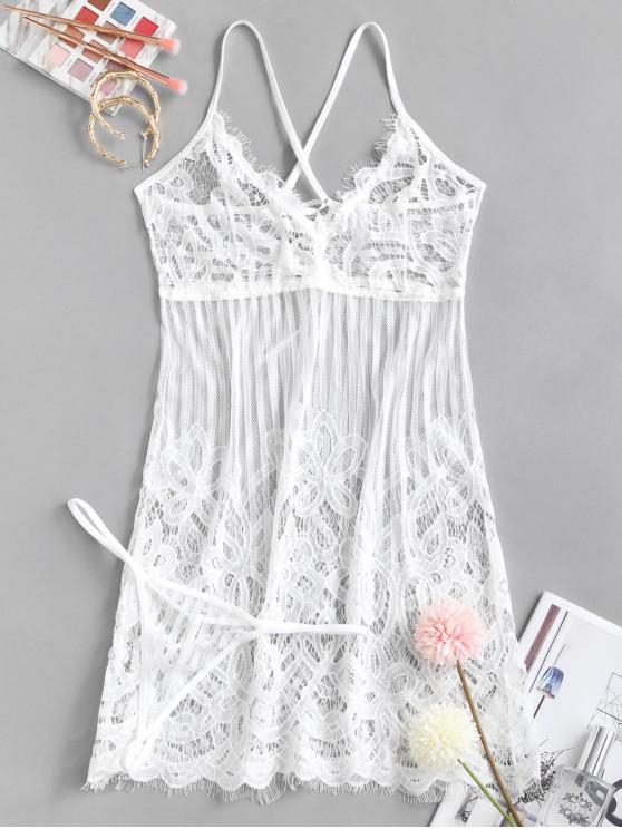 Incrociato Lace-up Ciglia Lace Babydoll Set - Bianco XL