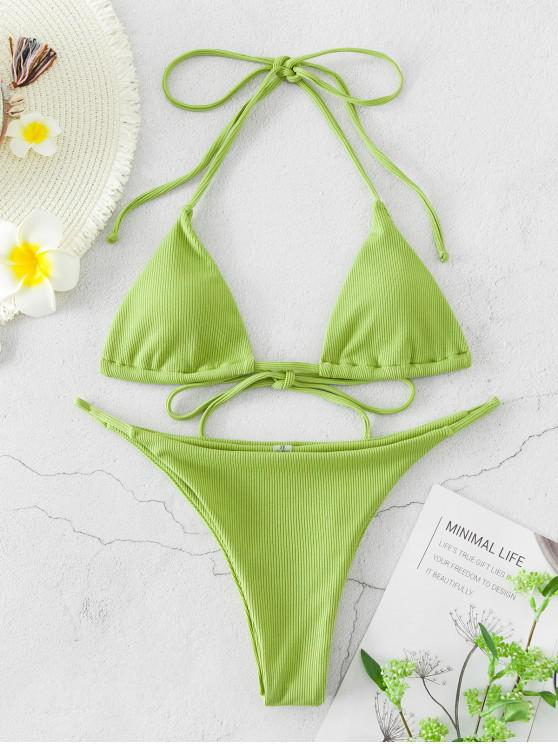 shops ZAFUL Ribbed Halter Tie String Bikini Swimsuit - LIGHT GREEN L